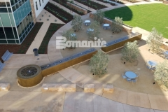 This decorative concrete fountain was formed using Bomanite smooth-troweled, integrally colored concrete and the finished product is this relaxing, restorative fountain outside of the Clovis Community Medical Center.