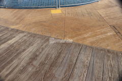 Over 400 differing patterns that resemble real wood, stone, and other natural textures are available with Bomanite Imprint Systems, including custom options like the large hexagonal stamps shown here that were created specifically for this project, and will create a truly unique decorative concrete surface.