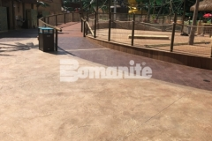 Bomanite Bomacron Regular Slate imprinted concrete was expertly installed here by our colleague, Harrington Bomanite, to create a durable and decorative hardscape surface at Canobie Lake Park.