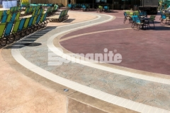 This stamped concrete was created using Bomanite Imprint Systems and features multiple Bomacron patterns that all come together flawlessly to add distinctive design detail to this decorative concrete hardscape.