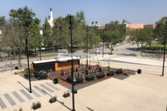 """Bomanite Bomacron imprinted concrete was expertly installed here by our colleague, Bomel Construction Company, using the 11.5"""" Boardwalk pattern to create a contrasting gray walkway with stamped detail that adds unique character to the hardscape at LAFC Stadium."""