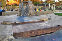 Inspiration Playground in Downtown Bellevue Park provides a unique and interactive play area with a variety of hardscape surfaces, including this Bomanite Imprint Systems stamped concrete bridge that was installed by our colleague Belarde Company using the Bomacron 12-inch Boardwalk pattern.