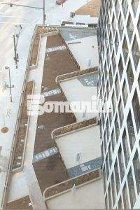 Overhead view of planters and seat walls at The Coloradan luxury condominium complex at Denver Union station installed using Bomanite Toppings Systems with Bomanite Micro-Top St and Sancscape Finishes.