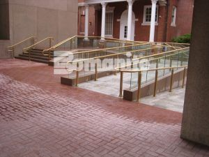 Ramps, stairs, and plaza of pavillion at commercial buildings in Hartford, CT installed using Bomanite Imprint Systems with Bomanite Basketweave Brick pattern and Bomacron Medium Ashlar Slate pattern installed by Connecticut Bomanite Systems.