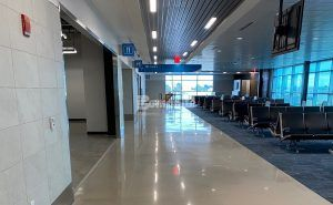 Gate 4 is ready for passengers at the newly renovated Brownsville South Padre Island International Airport in Brownsville, TX, using Bomanite Custom Polishing Modena SL System decorative concrete flooring installed by Texas Bomanite.