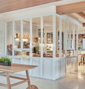 Coffee area of the Viceroy Santa Monica located in Santa Monica, CA, completes their renovation featuring decorative concrete custom flooring with Bomanite Custom Polishing Systems using Bomanite Modena SL installed by Heritage Bomanite of Fresno, CA.